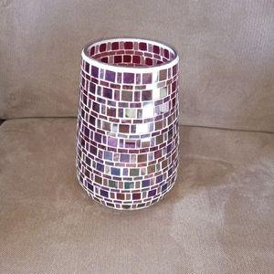 Gorgeous pink Mosaic vase or candle holder